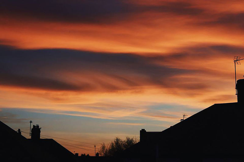 The sky was literally on fire🔥 EyeEm EyeEm Best Shots EyeEm Nature Lover EyeEm Gallery EyeEmNewHere Fire Sky Building Exterior Built Structure Cloud - Sky Day Dusk House Low Angle View Nature No People Outdoors Red Sky Roof Silhouette Sky Sunset Warm