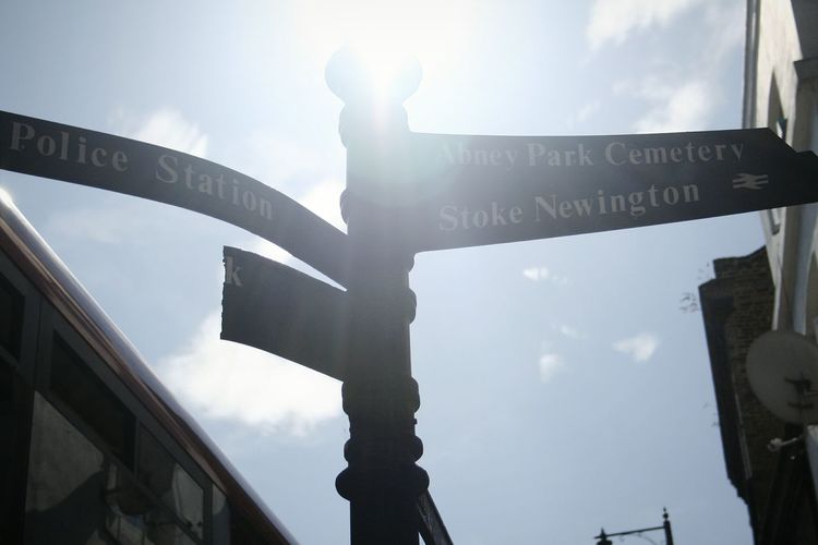 Untitled - Mass instant Capital Ring Walk Stoke Newington High St Signpost Sign Sign Post Stoke Newington Stokenewington Hackney Outdoors Sky Day Low Angle View City Untitled Photography Minimalist Photography  N16 Minimalism DeeArt Untitled Silhouette