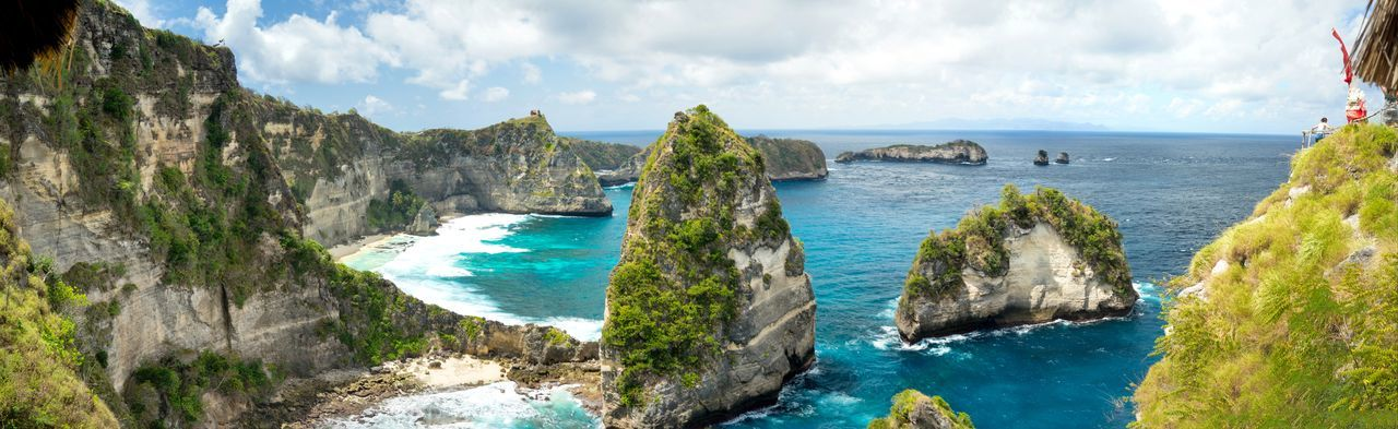 Panoramic view of Pulau Sribu (Thousand Island) Nusa Penida, Bali, Indonesia. Bali Bali, Indonesia Bay Beauty In Nature Cliff Cloud - Sky Horizon Over Water Looking At View Nature Nusa Penida Outdoors Panoramic Pulau Seribu Rock Rock - Object Rock Formation Scenics - Nature Sea Sky Solid Thousand Island Tranquil Scene Tranquility Travel Water