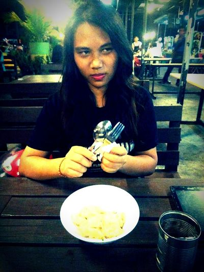 Food And Drink Young Women Sitting Table Food Plate Long Hair Ready-to-eat Person Drink Sibutown Localfood Sister ❤ Candid Angryface