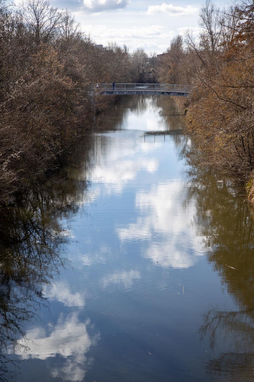 LAKE AMIDST TREES AGAINST SKY