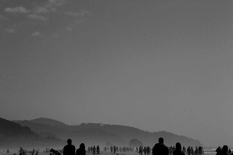 Silhouette people at beach against sky