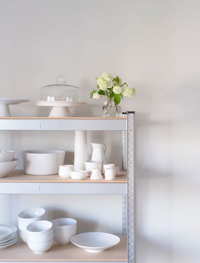 White Whites White Color Porcelain  Ceramics Dishes Vase Flower Shelf Kitchen Kitchen Utensils Variation Group Of Objects Close-up Indoors  Studio Kitchen Life Kitchenware Kitchen Stories Kitchen Shelves Freshness Bright Light White Background Studio Shot