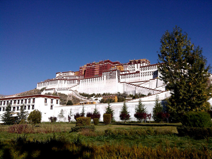Potala Palace Against Clear Sky