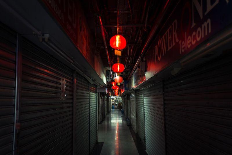 Red illuminated underground walkway