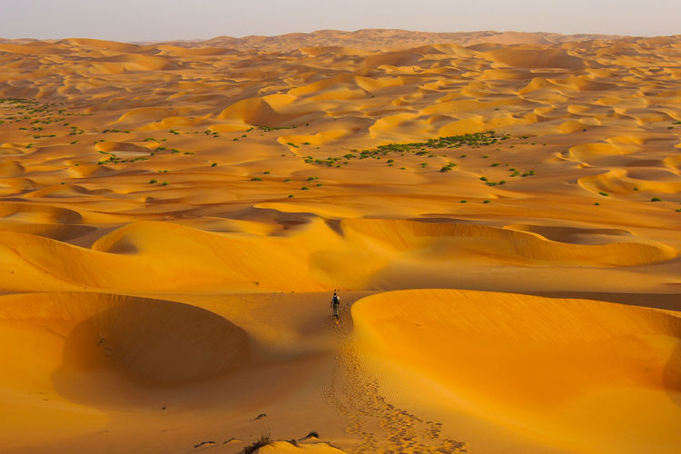 Abu Dhabi Abudhabi Alone Arid Climate Beauty In Nature Day Desert Journey Landscape Man Mountain Nature No People Open Outdoors Physical Geography Sand Sand Dune Scenics Sky Tranquil Scene Tranquility Walking