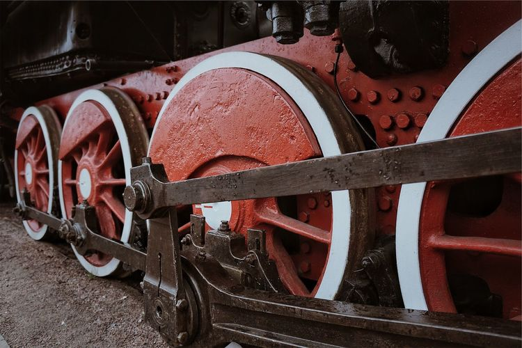 Retro train 🚂 Red Retro Train Transportation Metal No People Mode Of Transportation Wheel Rail Transportation Red Track Land Vehicle Railroad Track Train - Vehicle Train Day Close-up Outdoors Rusty Machinery Old Pattern