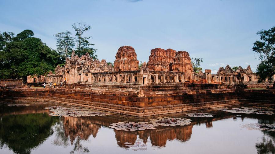 May 30, 2014 buriram, thailand - stone temple and barai pond of prasat muang tam castle