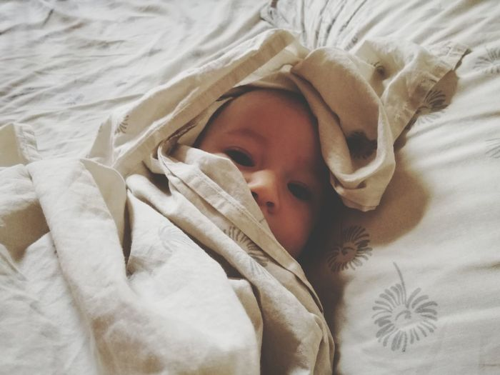 Peekaboo EyEmNewHere Peek A Boo Little Girl Bed Sheets Bedroom Bed Relaxation Lying Down Comfortable Headshot Happiness Wrapped In A Blanket Napping Bedtime Cozy Blanket