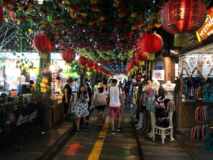 City Street Lantern Lighting Equipment Hanging Group Of People Architecture Lifestyles Chinese Lantern Adult Real People Building Exterior People Celebration Illuminated Night Retail  Men Decoration Market Summer In The City