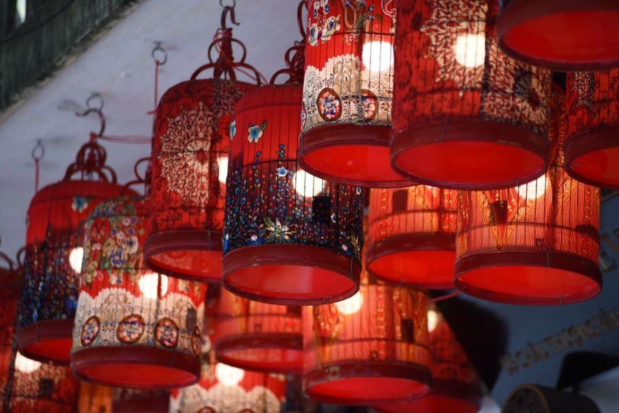My Point Of View Red Lighting Equipment Hanging No People Lantern Low Angle View Indoors  Day Close-up