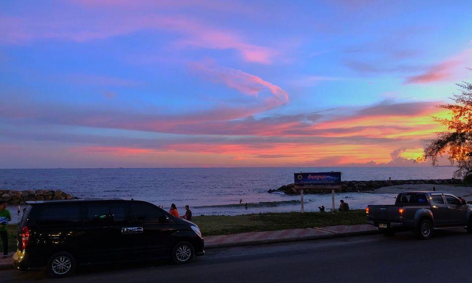Sunset beach Transportation Mode Of Transportation Sky Car Water Motor Vehicle Sunset Sea Beauty In Nature Cloud - Sky Beach Nature Scenics - Nature Horizon Over Water Horizon
