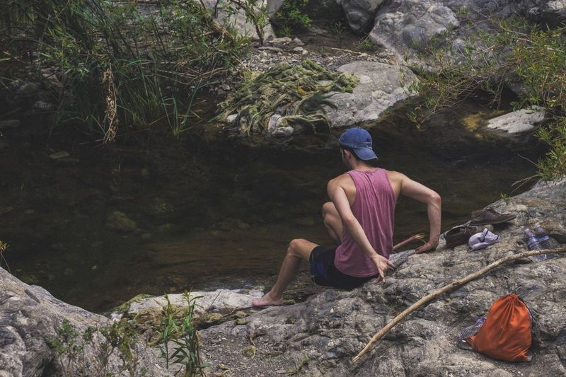 Hiking adventure through Piru Creek out of Pyramid Lake Real People Water Nature One Person Leisure Activity Muscles Young Adult Beauty In Nature Men Lifestyles Adventure Day Outdoors Water Tranquil Scene Stream Flowing Water