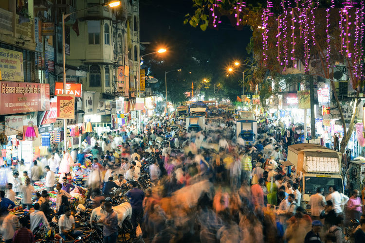 Crowd On Mumbai City Street At Night
