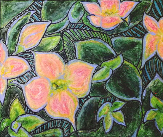 ... I think this one is completed ... Flower Backgrounds Multi Colored Close-up Creativity Painting Art Kalanchoe Flowers Leaves Green Pink Orange Drawing Pattern No People Floral My Artwork Ink Pastel Acrylic My Art Working Plants