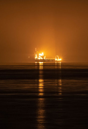 Lecce Tap Boat Gasdotto Illuminated Night Reflection Salento San Foca Sea Ship Shipping  Water