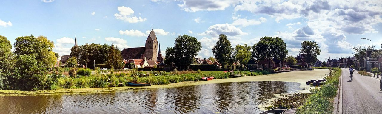 Enjoying The View of a Dutch Landscape, a Village in Summer2014, Panoramic Photography of the most leaning Church Tower in The Netherlands