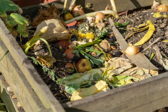 compost rubbish in the garden Decay Close-up Compost Composting Day Field Food Food And Drink Freshness Garden Rubbish Healthy Eating High Angle View Nature No People Selective Focus Vegetable Waste Wellbeing