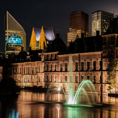 Architecture Building Building Exterior Built Structure City Illuminated Modern Nature Night No People Reflection Skyscraper Tourism Travel Destinations Water Waterfront