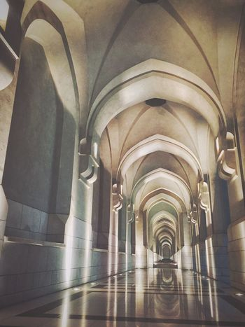 Architecture The Way Forward Arch Indoors  Ceiling No People Built Structure Illuminated Day Muscat , Oman Al Alam Palace Reflection Arches Lighting Night Photography Walls Columns And Pillars Marble Flooring Pattern Onepointperspective Vanishing Point Grand Hallway