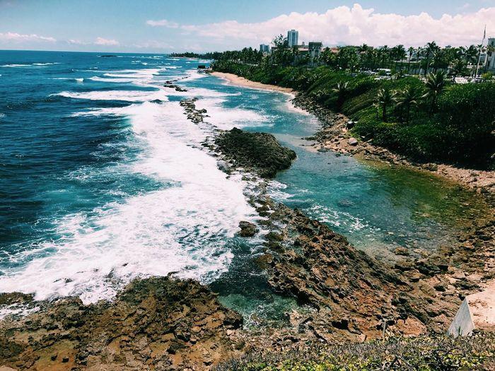 Scenic view of seashore in puerto rico