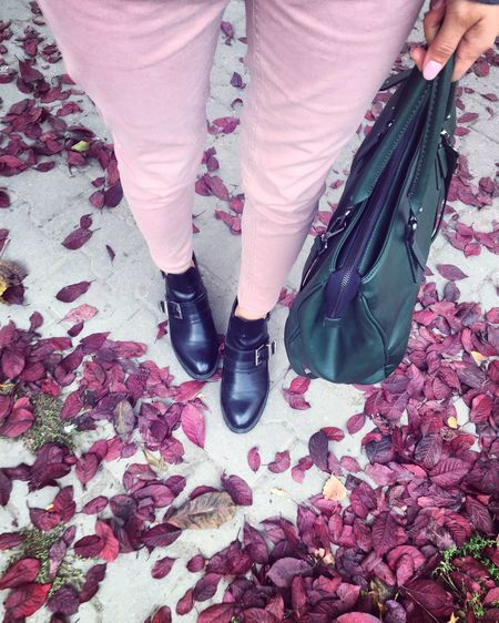 Shoe Autumn Standing Nature Foliage Powder Pink At My Feet Shoefie Purple Leaves Leaves Autumn Colors Fallen Perspectives On Nature One Step Forward
