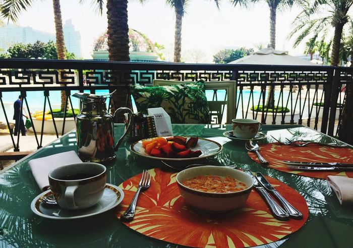 Morning Breakfast Chilling Vacations Pool Versace Hotel Food And Drink Healthy Eating Table Outdoors EyeEm Best Shots