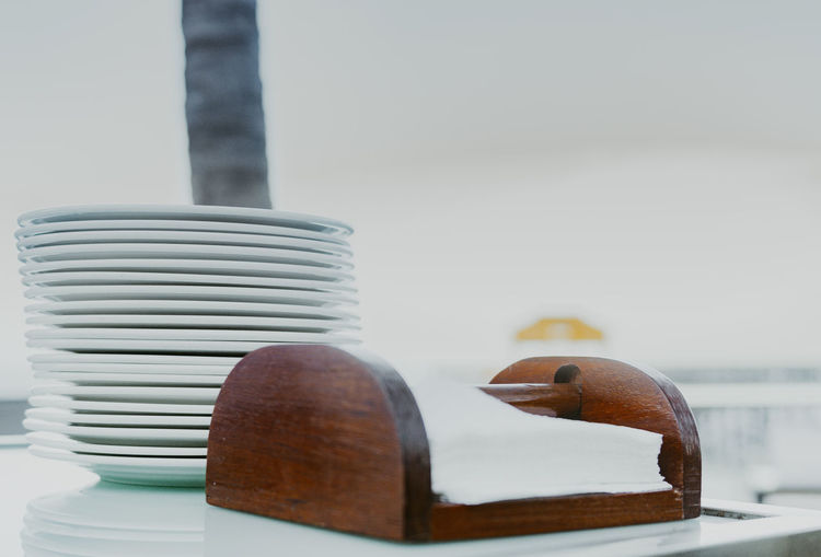 Close-up of stack on table