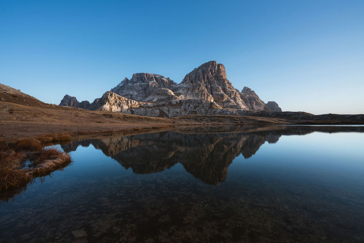 Reflections in the Dolomites Check out my prints at http://simonmigaj.com/shop/ and visit my IG http://www.instagram.com/simonmigaj for more inspirational photography from around the world. Sky Tranquility Tranquil Scene Scenics - Nature Water Beauty In Nature Reflection Clear Sky Nature Blue Non-urban Scene Copy Space No People Mountain Lake Idyllic Environment Waterfront Day Mountain Range Outdoors Formation Mountain Peak Eroded Dolomites