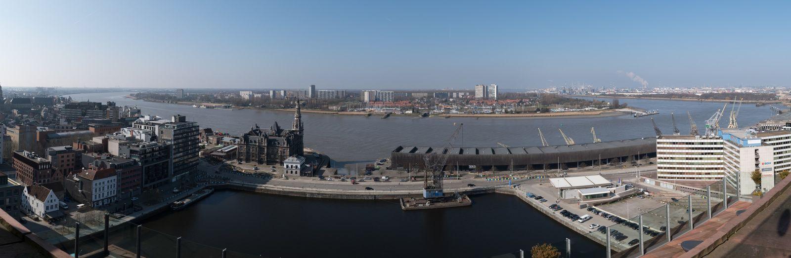 Antwerp Schelde River View Panorama Linkeroever