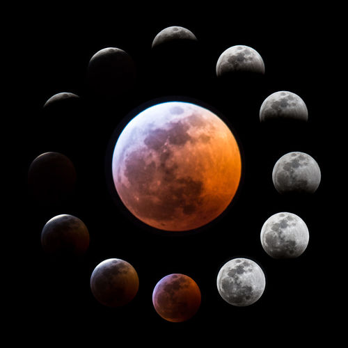 Super Blood Wolf Moon Eclipse 2019 : Orbital Procession Luxury Eclipse Blooming Moon Wolf Moon 2019 Space Astronomy Sky Full Moon Digital Composite Orbiting Circle Orange Color Nature Astrophotography Planet - Space Black Background Night Science Space Exploration Totalitarianism totally worth it Dark Orbiting