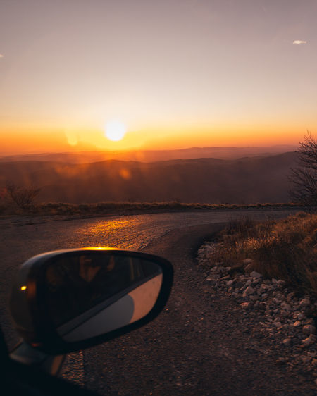 Eyesight Sunset Vehicle Mirror Summer Car Reflection Sunlight Sun Sunglasses Road Trip Side-view Mirror Mountain Road Scenics Rocky Mountains Tranquil Scene Mountain Range Tranquility Mountain Car Point Of View