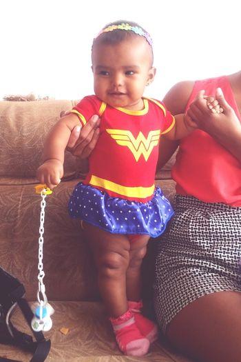 my princess... Wonderwoman Child Childhood Males  Children Only One Person Boys Sitting