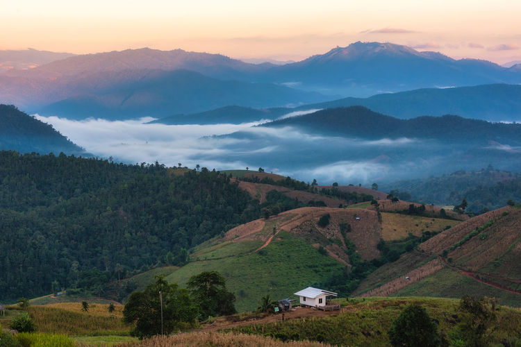 The beautiful rice terraces are located on a mountain at pong piang village