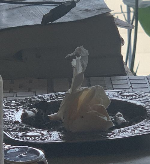 Close-up of sculpture on table
