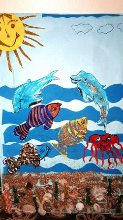 No People Sky Blue UnderSea Sun Dolphins Octopus SHELLFISH  Handwork Goodwork