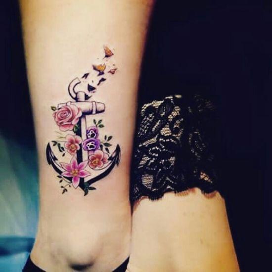 Tattoogalerie Tattoo Tatouage Tattoo Art Art Ancre Marine Oiseaux Fleurs Flowers Birds my new tattoo :D
