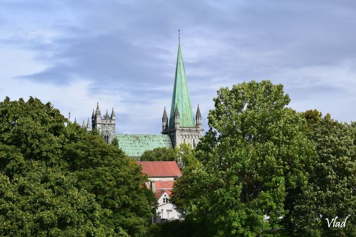 Nidaros Cathedral is the world's northernmost medieval cathedral and Norway's national is built over the burial site of King Olav II of Norway and Saint Olav (c. 995-1030, reigned 1015-1028), the King of Norway in the 11th century, who became the patron saint of the nation, and is the traditional location for the consecration of new Kings of was built over a long period of 230 years, from 1070 to 1300 when it was substantially completed. Place Of Worship Nature Green Color Travel Destinations Tower Kirke  Norway Cathedral Nidaros Trondheim Nidaros Cathedral Nidarosdomen Outdoors