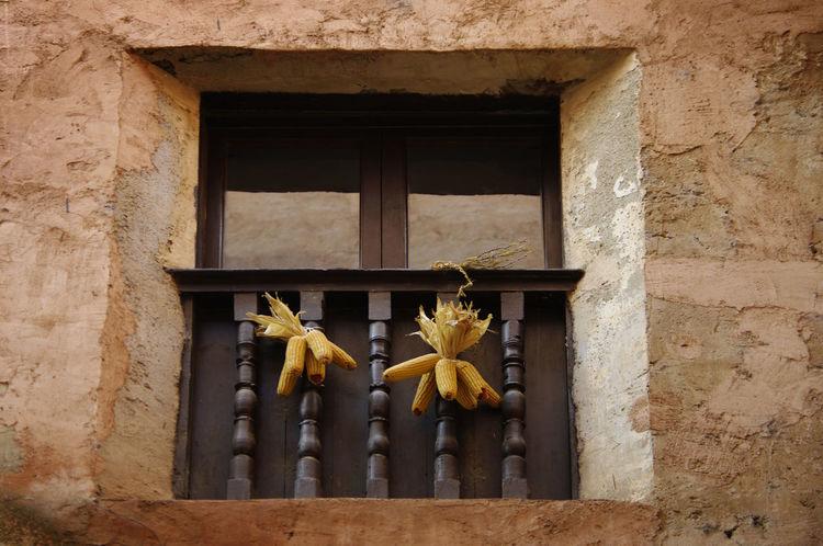 Architecture Building Exterior Built Structure No People Spaın Window Albarracín Corn Husk Bunches Drying Ochre Orange Timber Railing