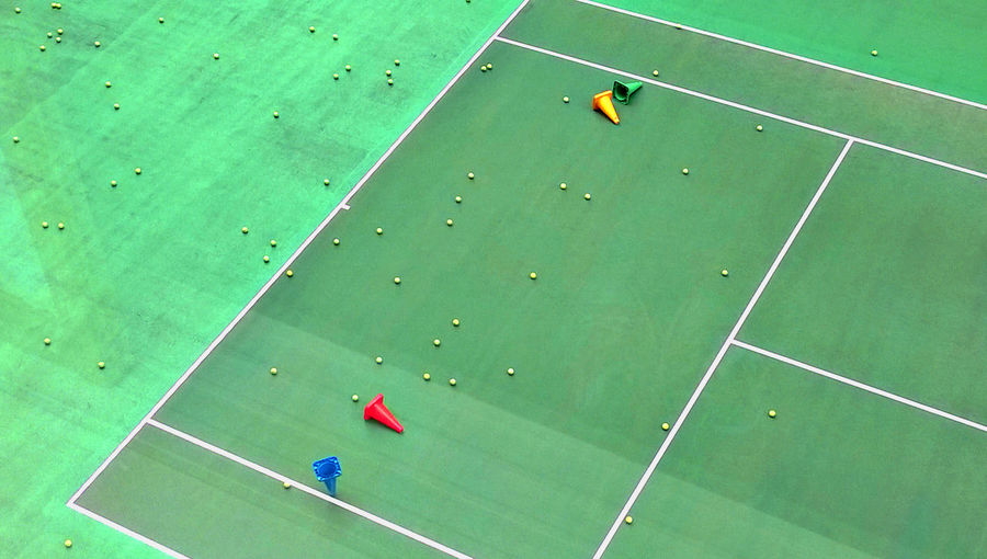 Abandoned Aerial View Beach Day Green Color High Angle View Leisure Multicolored No People Outdoors Sport Tennis Tennis Balls Tennis Court Paint The Town Yellow