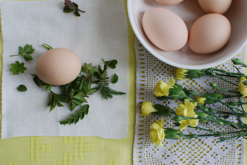 Boiled Egg Bowl Breakfast Close-up Day Directly Above Egg Food Food And Drink Fragility Freshness Healthy Eating High Angle View Indoors  Ingredient No People Preparation  Preparing For Easter Raw Food Still Life Table Yellow Flowers Women's Work Is Newer Done