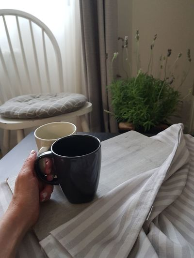 cup of coffee, home interior design Indoors  Cup Coffee Coffee - Drink Lifestyle Black White Chair Tablecloth Wooden Cozy Living Room House Home Home Interior Vintage Table Furniture Design Style Modern Breakfast Details Comfortable Window Room