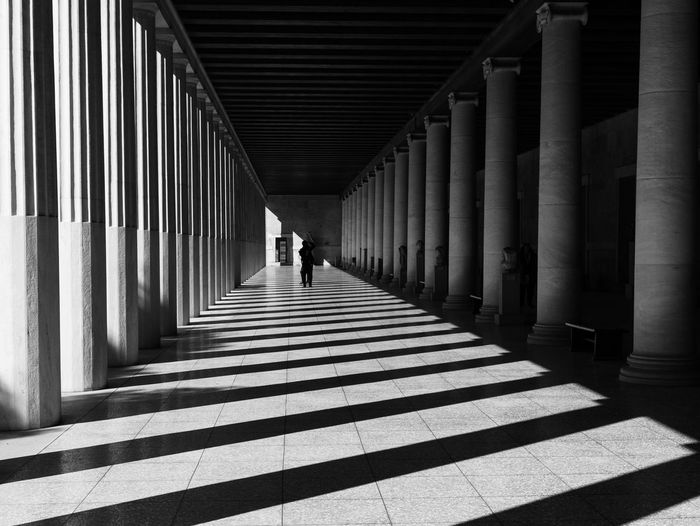 Art Black & White Architecture Built Structure Direction The Way Forward Architectural Column Shadow Day Sunlight Corridor Pattern One Person