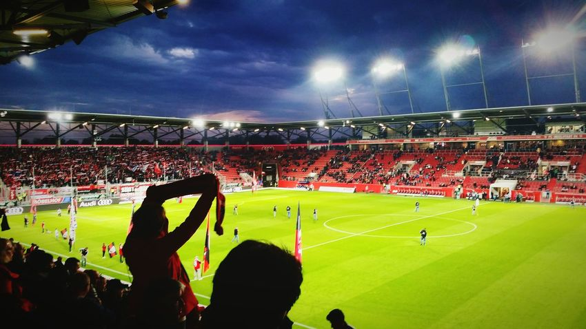 Stadium Soccer Sports Team Team Sport Spectator Night Activity Crowd Audience Sport Leisure Activity Fan - Enthusiast Outdoors Grass Floodlit Cheering Up Germany Bundesliga FC Ingolstadt Atmosphere