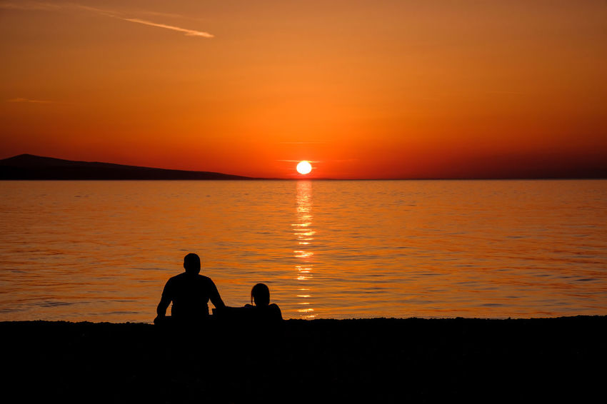 Copy Space Romantic Vacations Beach Beauty In Nature Bonding Horizon Horizon Over Water Lifestyles Love Nature Orange Color Outdoors Real People Scenics Sea Silhouette Sitting Summer Sun Sunset Togetherness Tranquility Two People Water
