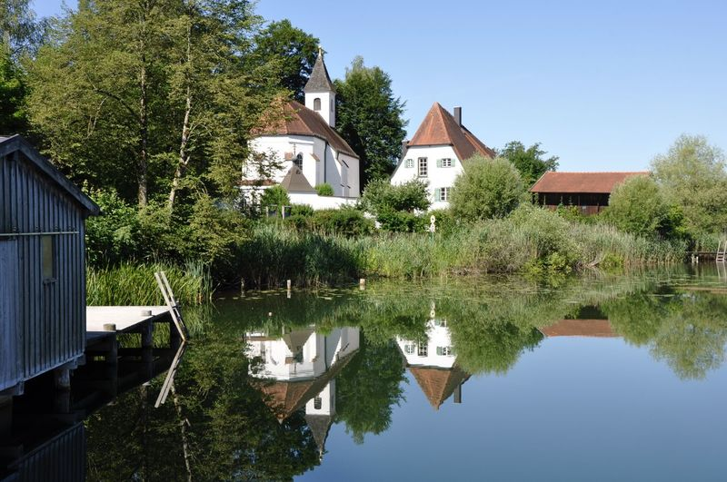 Bavaria Bavarian Landscape Chapel Kloster Seeon Place Of Worship Architecture Bavarian Lakes Beauty In Nature Building Exterior Built Structure Chiemgau Clear Sky House Lake Lake View Nature No People Reflection Tranquil Scene Tranquility Tree Water Waterfront