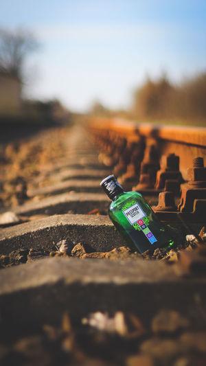 Close-up of green bottles on land