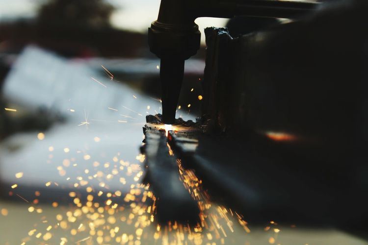 Close-Up Of Person Welding