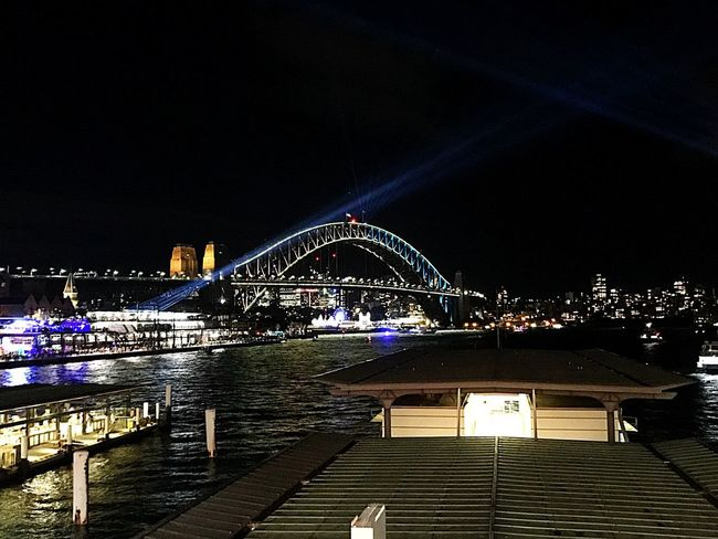 #Vivid_2018 Night Illuminated Architecture Built Structure Sky Building Exterior Water City Bridge No People Clear Sky Nightlife Arts Culture And Entertainment Outdoors