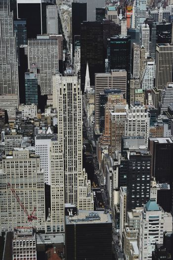 High angle view of buildings in city